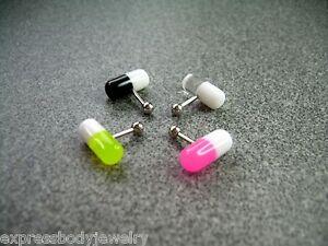 "16g 1//4/"" UV Acrylic Double Pill Tragus Ear Cartilage Barbell 316L Surgical"