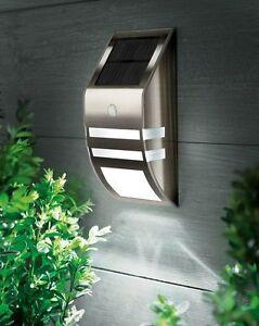 ACCIAIO-INOX-CROMO-LED-solare-luci-di-sicurezza-Giardino-Esterno-Porta-Parete