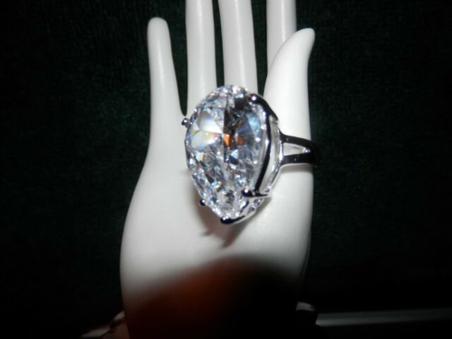 Gorgeously Large Pear Shaped CZ Ring ~ SZ. 5 or 6 ~ White Gold Plated