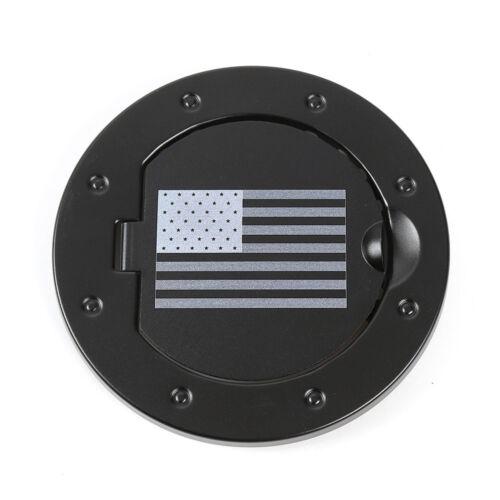 Aluminum Gas Fuel Tank Cap Cover Fit Fit 2007-2017 Jeep Wrangler U.S Flag Black