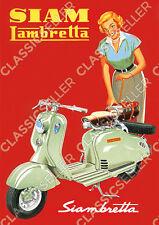 Siam Lambretta Siambretta Motorroller mit Frau Poster Plakat Bild Schild Affiche