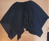 Black Ballroom Skirt Pointed Hem Ladies Sizes Polyester Crepe Elastic Waist