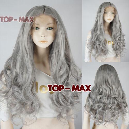 "24"" Lace Front Wig Cosplay Perücke Haarteile Synthetic Lolita DE Mixed Grau +Cap"