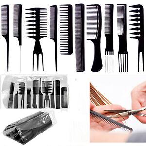 10-pezzi-di-alta-qualita-capelli-Styling-pettine-Set-Professionale-Nero-Pennello-Barbieri