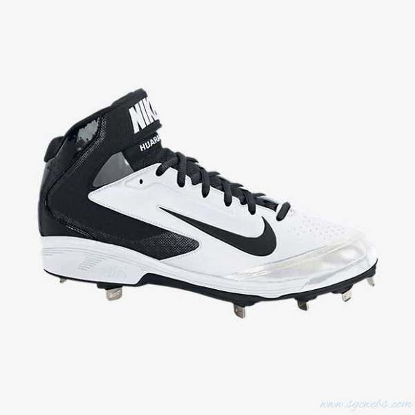 154bcf00e31a Men s Nike Air Huarache Pro Mid Metal Baseball Cleats - White Black ...