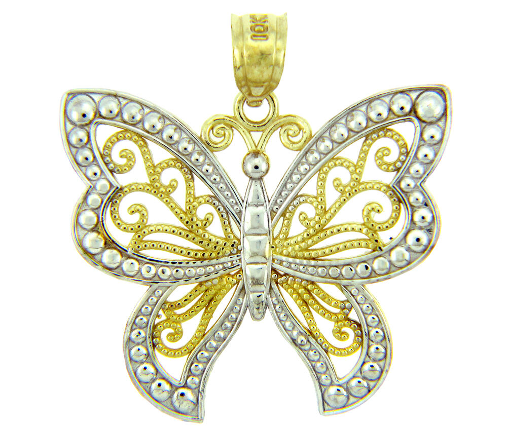 Butterfly Two Tone gold Charm Pendant (Made in USA)