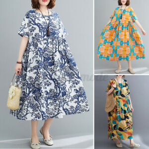 UK-Womens-Summer-Casual-Loose-Long-Sundress-Floral-Printed-Baggy-Dress-Plus-Size