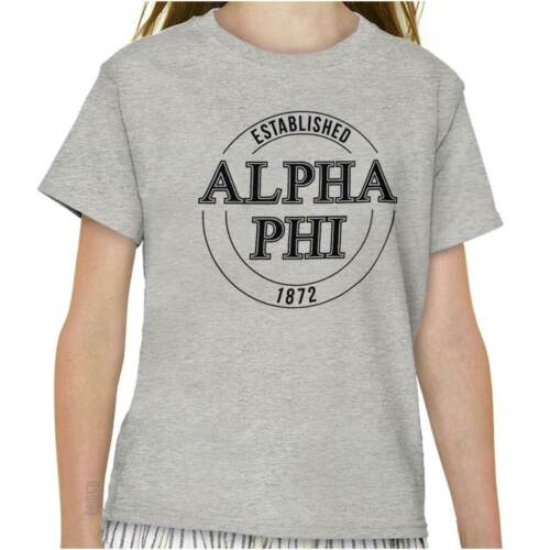 Traditional Alpha Phi Sorority Greek Letter Girls Kids Youth Crew T Shirts