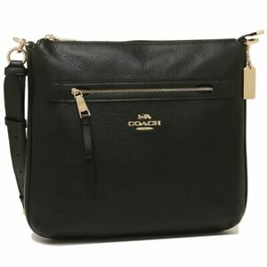 well known detailed look best sell Details about Coach F34823 Pebbled Leather Zip Large Crossbody Bag NWT