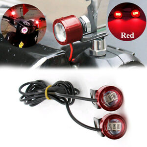 2x-Red-12V-Motorcycle-Car-Rearview-Mirror-Eagle-Eye-3LED-Flash-Strobe-Lights-DRL