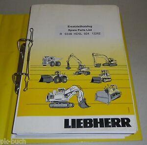 Spare Parts Catalog Lists Liebherr Excavator R 934 B Hdsl Stand 12/2003