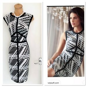 Joseph Ribkoff Black White Striped Lace Trim Pencil Dress Uk Size 16 Ebay