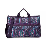 $154 Lesportsac Xl Weekender Duffle Travel Bag No-pouch Hope Paisley Purple