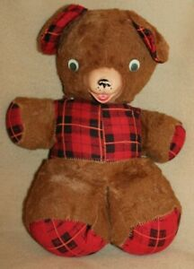 Antique-Vintage-14-034-Stuffed-Plush-Teddy-Bear-with-Rubber-Nose