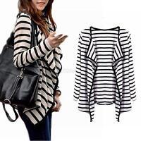 Fashion Women Slim Casual Striped Blazer Suit Jacket Coat Outwear Tops SML