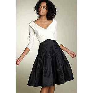 Image Is Loading Tadashi Shoji Black And White Party Dress Women