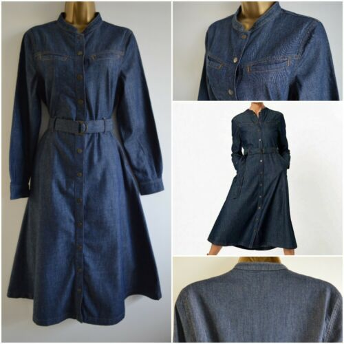 NEW £55 MARKS /& SPENCER M/&S DENIM SHIRT DRESS BELTED MIDI DARK BLUE SIZE 6-22