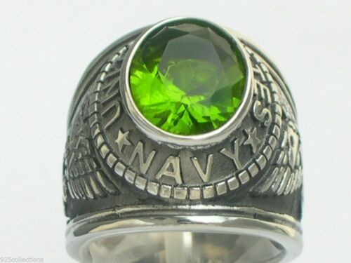 United States Navy Military August Peridot Stone Stainless Steel Men Ring Sz 10