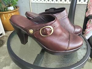"""EUROSTEP 'Megan' Brown Pebble Leather 3.5"""" Heeled Mules Back Buckle Shoes 6 M"""