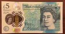 New Polymer United Kingdom British English 5 Pounds Banknotes Uncirculated.