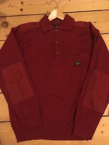 Paul-amp-SHARK-POLO-Camisa-De-Manga-Larga-Rojo-Sueter-de-punto-medio-Yachting-M