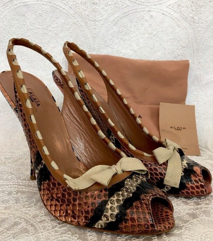 Alaia shoes orange and black multi colord Snake Bow On Toe new size 39