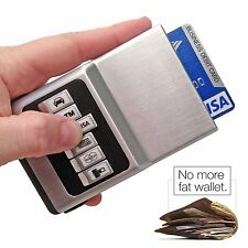 Compact Front Pocket Cash Credit Card Wallet Money Holder Clip Black Case Unisex