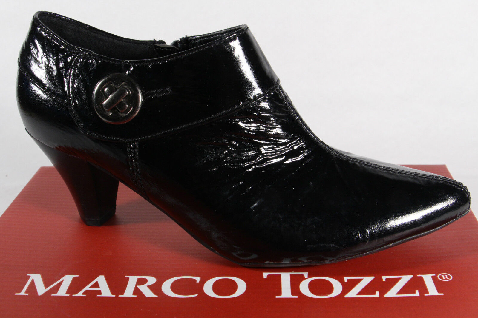 Moda barata y hermosa Descuento por tiempo limitado Marco Tozzi slippers Tacones Bajo Zapatos Charol Cuero Artificial Negro NUEVO