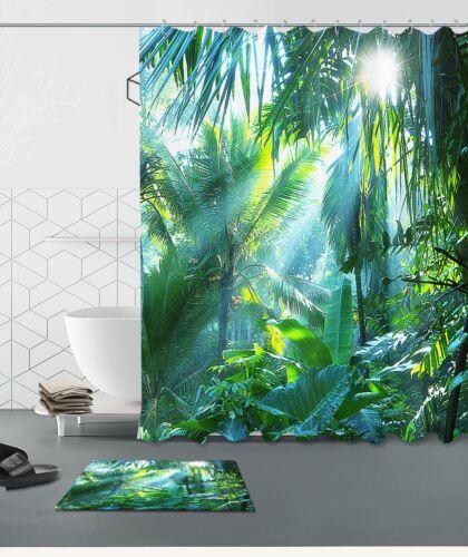 "60//72/"" Morning Jungle Waterproof Fabric Bathroom Decor Shower Curtain/& Mat/& Hook"