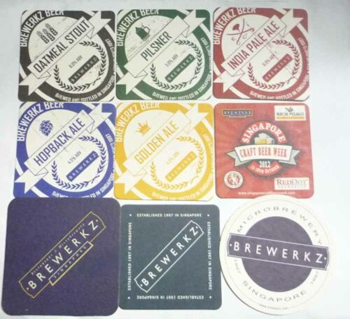 9Pc Lot SINGAPORE Beer Mat Coaster BREWERKZ Micro Brewery Microbrewery Craft