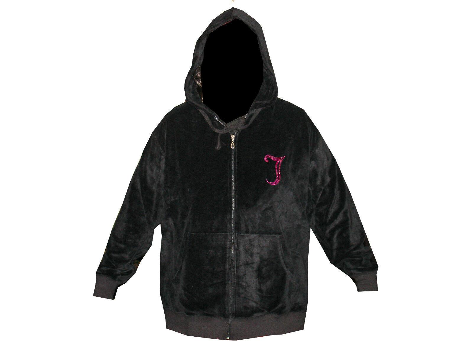 0313c90bc4f Curvaceous Clothing Plus Size Black Diamante Detail Velour Hoody ...
