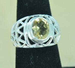 2b6d7e7a782c6 NATURAL YELLOW CITRINE NOVEMBER BIRTHSTONE 925 STERLING SILVER RING ...