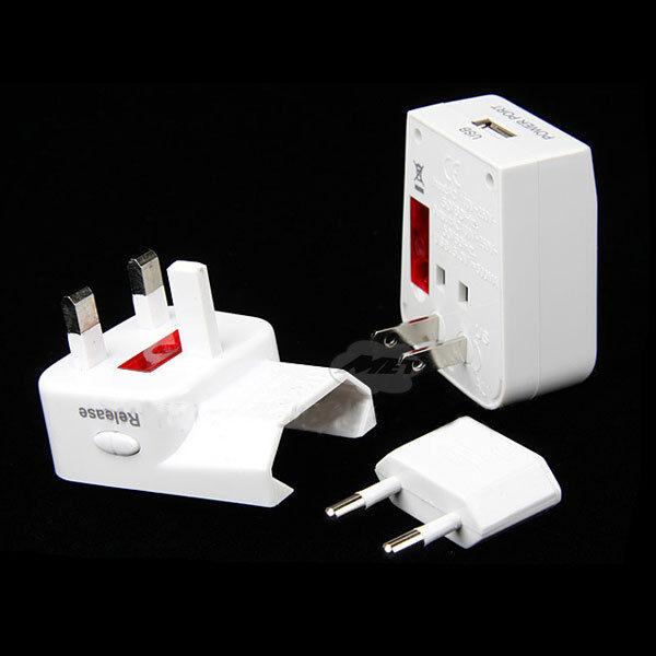Universal World Travel AC Power Adapter Adaptor Plug Convertor W/ USB UK US EU