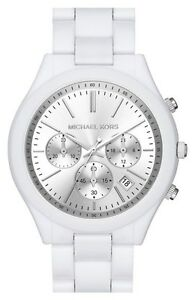 Michael-Kors-mk6254-Runway-Cronografo-Silver-quadrante-bianco-orologio-2-ANNI-GARANZIA