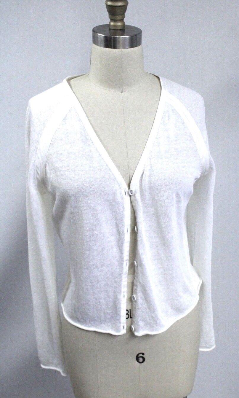 LAFAYETTE 148 Linen Knit Winter White  Short Cardigan Sweater M Sheer NWOT