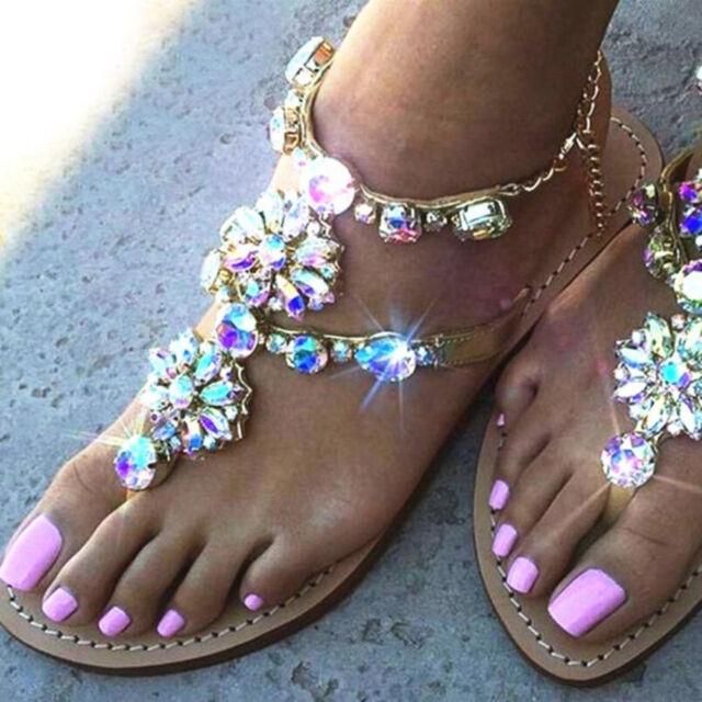 KQ_ Boho Women Summer Beach Rhinestone Flower Chain Casual Flip Flop Sandals Sal