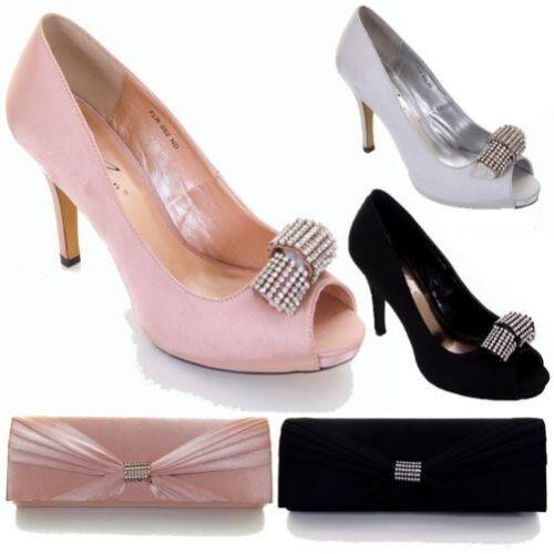 Talon Fête Accent Bout Strass Satin Ouvert À Cour Femmes Chaussures 48qzBww1