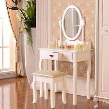 White Makeup Dressing Table Set w/Stool Drawer & Mirror Jewelry Desk Wood
