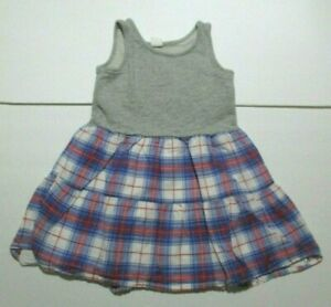 GIRLS-BABY-GAP-GRAY-RED-WHITE-amp-BLUE-PLAID-TANK-DRESS-SIZE-4-YEAR-4T