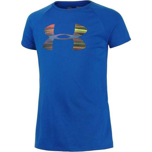 Under Armour Girls Big Logo T-shirt Blue Short Sleeve Tee 1274443//907