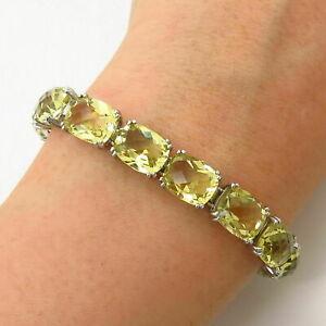 925-Sterling-Silver-Lemon-Citrine-Gem-Tennis-Link-Women-039-s-Beautiful-Bracelet-8-039-039