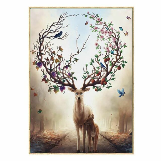 Wall Art Deer Stag with Long Antler Bloom and Bear Fruit Pictures Prints On Q6F5