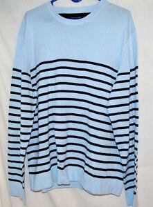 228713edbc20d Men s Tommy Hilfiger Crew Neck Sweater Light Blue   Navy Stripe XL ...
