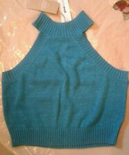 Gina Tricot Fiona knitted sexy sparkly party top tank size m 10 organic cott