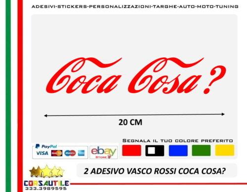 2X ADESIVO VASCO ROSSI LOGO SIMBOLO BOLLICINE COCA COSA per AUTO MOTO BICI CASCO