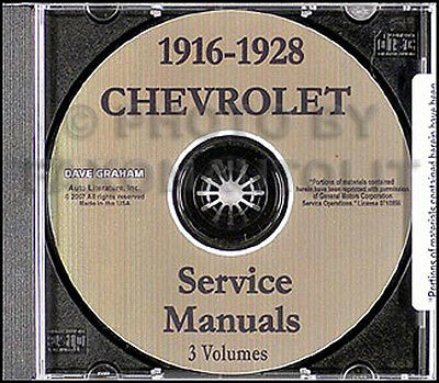 1916-1928 Chevrolet Shop Repair Manual on CD Chevy 1925 1926 1927 1928 Car Truck