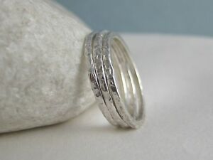 9f358cfe5dc21 Details about Three 1.5mm Sterling Silver Sparkly Hammered Stacking Rings  H-Z Handmade In UK