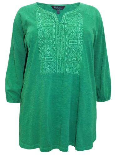 Ulla Popken blouse top plus size 20-34 green ethnic embroidery pattern cotton