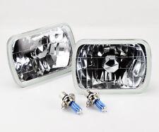 """7x6"""" Halogen Semi Sealed H4 Clear Glass Headlight Conversion w/ Bulbs JEEP"""