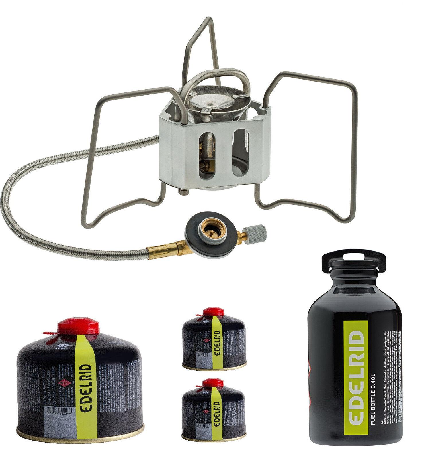 Edelrid Hexon Multifuel Kocher für Gas und Benzin + 3 Edelrid Gaskartuschen 230g
